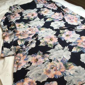 Karen Kane Navy Floral Dress Bell Sleeves Small